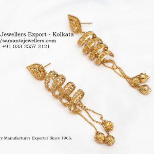 GOLD FANCY SPIRAL JHUMKA DESIGNS